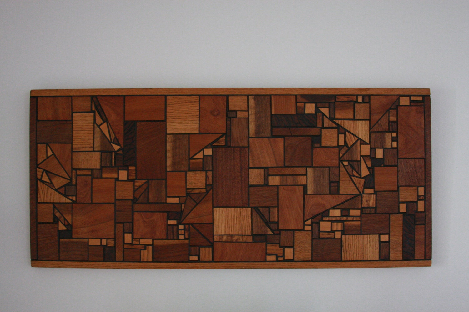 Contemporary Wood Wall Decor : Vintage mid century modern wood wall art hanging geometric