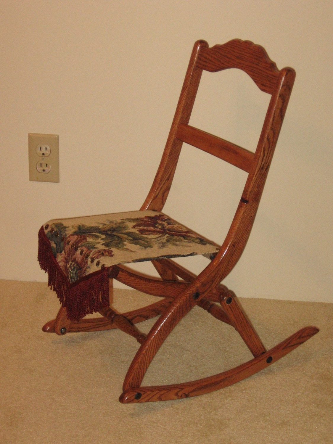 Child Red Rocking Chair ~ Victorian child size folding rocking chair