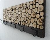 Maple Wood Slice Rustic Wood Coat Rack - Towel Rack 12x48