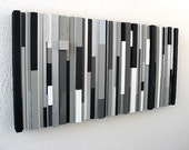 Black and White Abstract Art, Modern Wall Art Wood Sculpture Black White Greys Silver