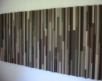Wooden Headboard, Colorful Painting, Wood Abstract Art