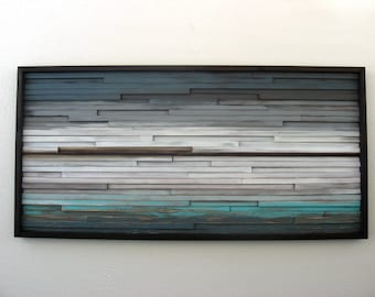 Abstract Wood Wall Art of Ocean Landscape Painting 24x48