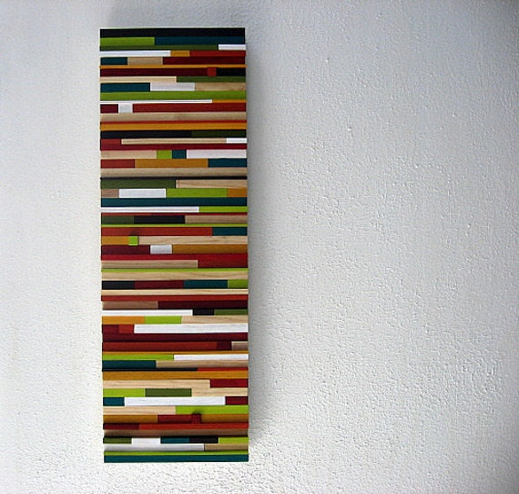 Colorful wall art art made of wood multicolored artwork for Modern art home decor etsy