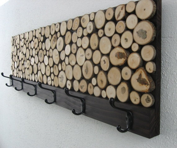 Maple Wood Slice Rustic Wood Coat Rack - Towel Rack 12x48