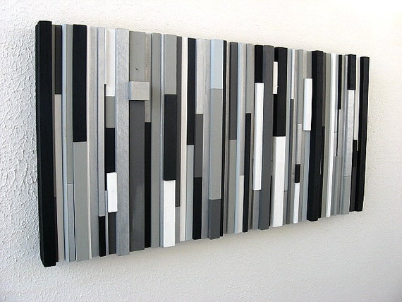 Black And White Contemporary Wall Decor : Black and white abstract art modern wall wood sculpture