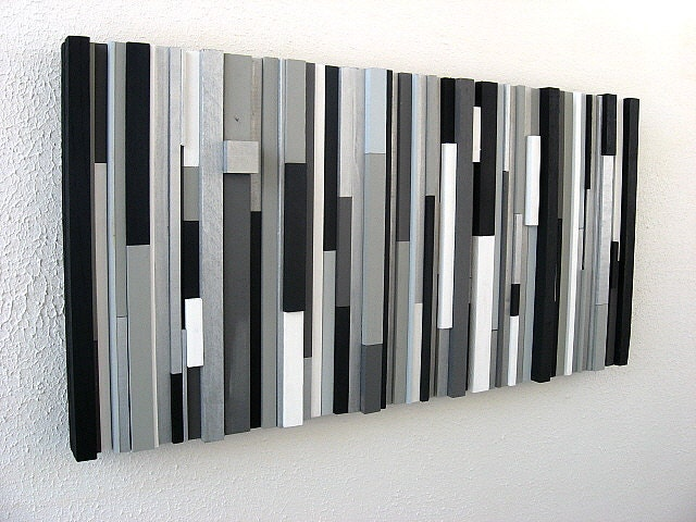 Black and white abstract art modern wall art wood sculpture for Modern black and white wall art
