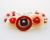 Cherry Ripple Button Bracelet