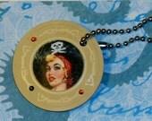 GLAM PIRATE GIRL --- Mermaid Poker Chip --- Key Chain / Purse Charm
