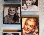 DARLING -- Marilyn Monroe -- (Color and B & W ) Stone Tile Magnet Set of 5 --