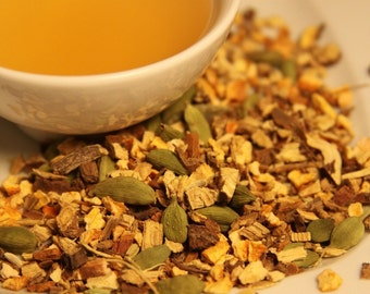 After Dinner / Organic Herbal Tea with Licorice and Cardamom / Zanitea Loose Leaf Blend Makes 10 to 12 Cups