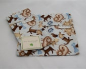 SALE - Blue and Brown Dog Reusable Sandwich and Snack Bag Set