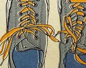 BOGO FREE SALE : converse chucks illustration print, series number five