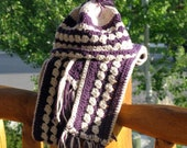 Purple Cabled School Days Scarf and Hat