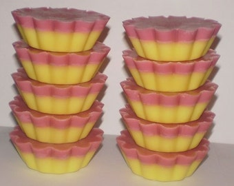 12 Layered Soy Wax Tarts - Pomegranate and Lemon - 1 oz each