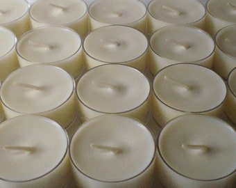 48 Soy Wax Clear Cup Tea Lights in Your Choice of Scent,  DYE FREE