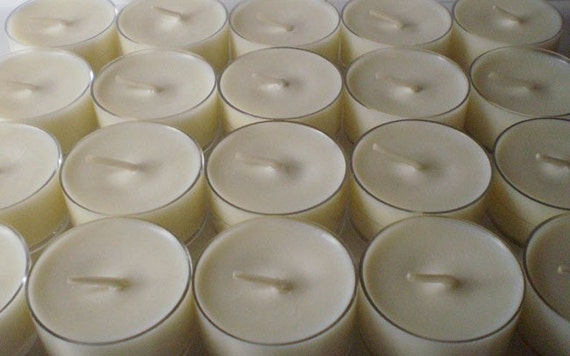 30 Unscented Dye Free Soy Wax Clear Cup Tea Lights