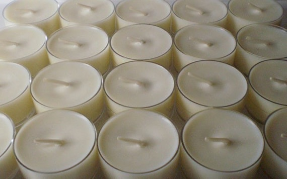 12 Soy Wax Clear Cup Tea Lights in Your Choice of Scent,  DYE FREE