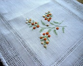 EMBROIDERED table runner linen Orange FRENCH KNOTS WOW