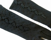 Gloves fabulous stretch Vintage Victorian Wedding Formal Evening Costume Party LONG Black  Beaded