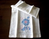 TOWEL Vintage linen Hand Embroidered Pink and Blue FLOWER Cross stitching