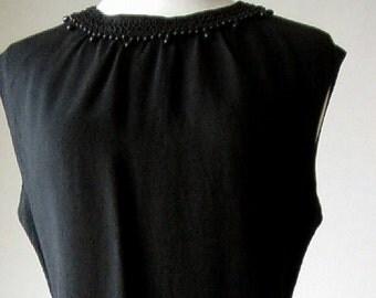 Authentic vintage dress 1960s Retro Vintage Black Beaded Sixties Cocktail shift MOD Jackie O