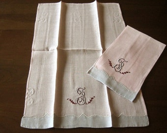 TOWEL Set 2 Vintage LINEN Embroidered Monogrammed J Pink Gray Delicate rice linen PAIR