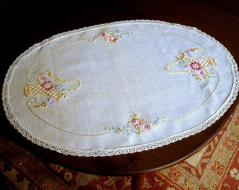 Embroidered RUNNER Oval TABLECLOTH Hand Made Table scarf LINEN Embroidered Flower Baskets Lace Hem
