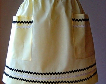 APRON Kitchen Skirt Cover Pinafore LOVELY Yellow Cotton Ric Rac Edging Trim Chef