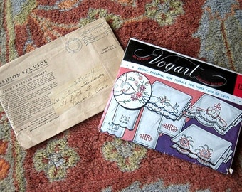Antique Vintage hankie Towel EMBROIDERY KIT Bucilla needlepoint Cross Stitching Pattern