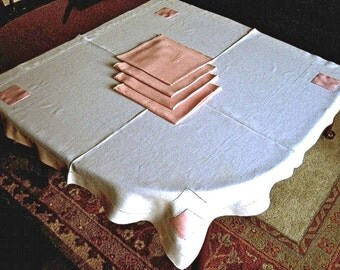 TABLECLOTH vintage All Pure LINEN hemstitched BONE White with Pink Corner Squares 4 Napkins