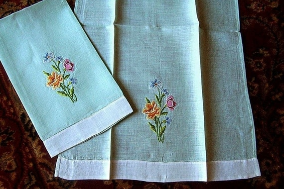 Retro vintage embroidery towel pair Antique Embroidered Flowers Jadeite Linen
