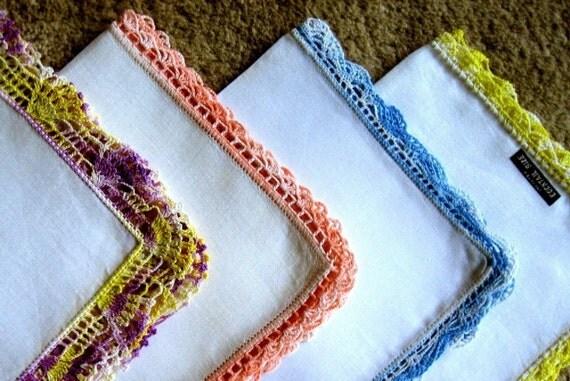 Hankie set handkerchief linen vintage 4 piece colorful crocheted lace trim