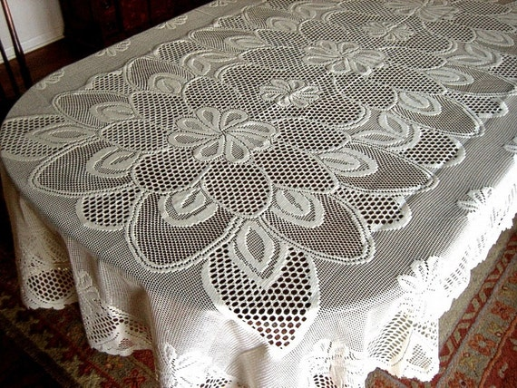 Tablecloth NEW Lace Bone Cream Deep Big Mod Daisies FLOWERS Large 90 inches