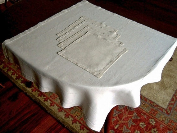 Linen tablecloth hand drawn hemstitching drawn work vintage with napkins