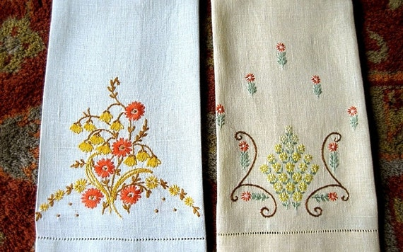 TOWEL Vintage Hand stitched LINEN Embroidered Earthy GARDEN Flower Set Two