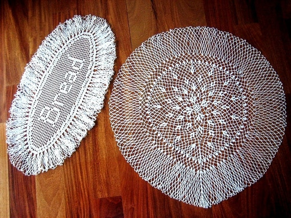 RUNNER table scarf Doily PAIR Hand CROCHETED Lace Cotton Dresser Runners Set 2