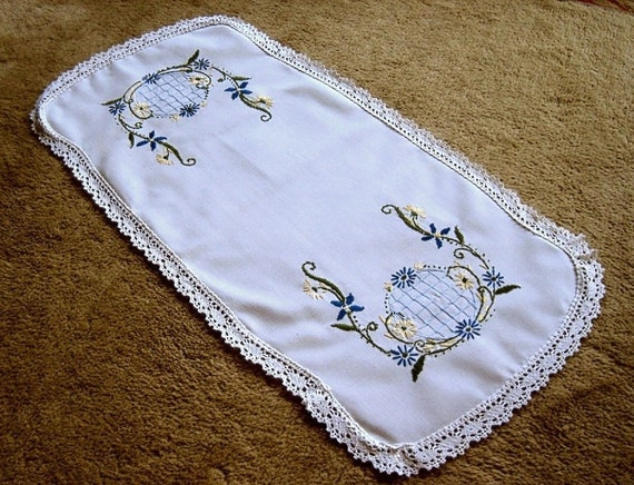 Embroidered Table Runner Dresser Scarf Doily Blue Yellow Globe