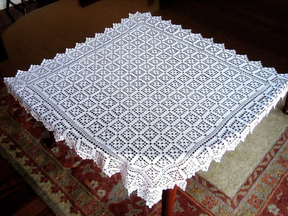Vintage TABLECLOTH White Cotton HAND CROCHETED Lace Box Netting Blocks