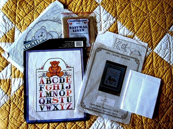 SAMPLER EMBROIDERY KIT Bucilla needlepoint Cross Stitching Book Patterns