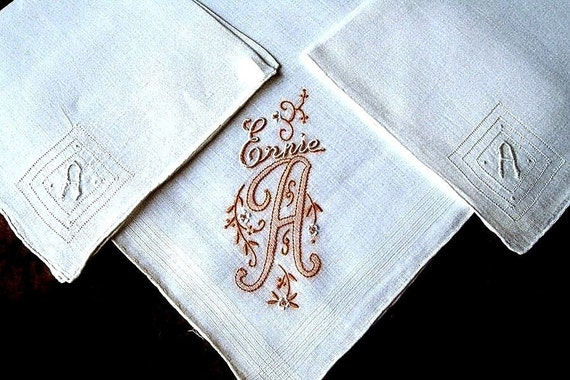 Hankies Monogrammed A Three Handherchiefs Set Colorful Hand Embroidered Embroidery