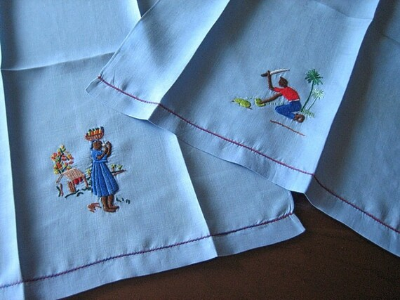 Vintage TOWELS Blue Linen Towel Set 2 Embroidered Pair Island Natives Figures Drawn Lace
