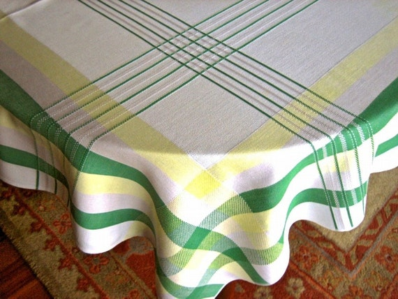 Retro vintage print Fifties mod bright Tablecloth Supple Cotton Green Yellow Gray Stripe plaid