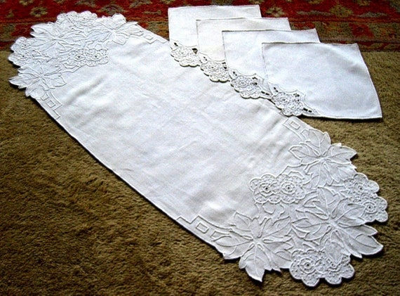 RUNNER Table Dresser Scarf Solid White textured Madeira embroidered LINEN with NAPKINS
