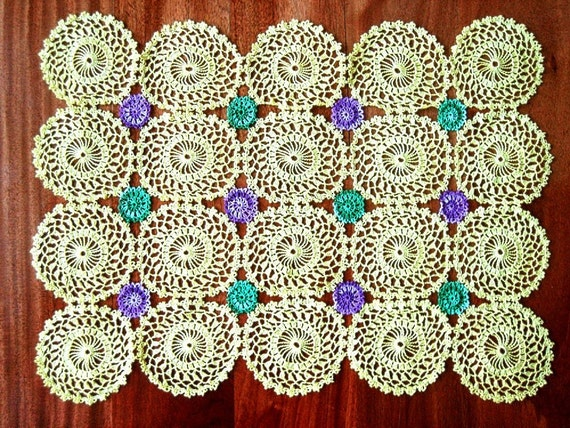 Vintage colorful hand crocheted lace Doily Cotton Crochet Yellow Purple Aqua Jade Granny Delicate LACE
