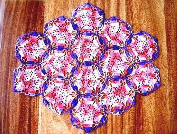 Vintage colorful hand crocheted lace Doily Cotton Crochet Granny Delicate LACE