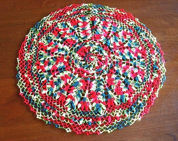 Vintage colorful hand crocheted lace Doily Cotton Crochet ROUND LACE
