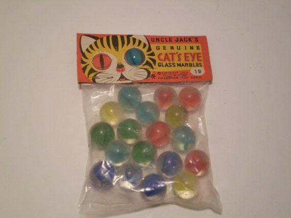 Vintage Cat S Eye Marbles In Package
