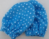 Blue and White Polka Dot Baby Mitts