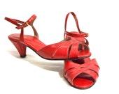1970s Vintage Red Leather Strap Kitten High Heels