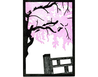 Cherry blossoms linoleum block print